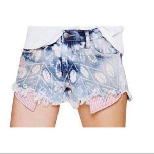 Free People Denim Batik Printed Shorts, Size 26